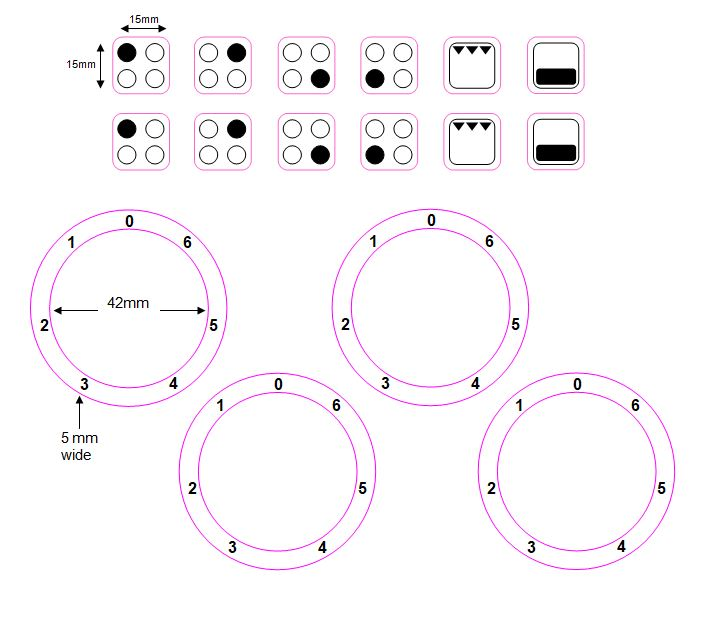 BUNDLE SET - 4 RING HOB COOKER TOP STICKERS DECALS + 0-6 HOB STOVE NUMBERS WITH ZERO AT TOP