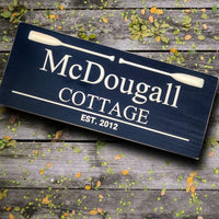 Wooden Cottage Sign, personalized lake house sign,Black Carved Plaque with paddles