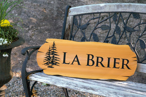 Personalized Cedar Sign, Log Design, 1 Line of Text