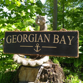 Georgian Bay Sign with Anchor - Maison Muskoka