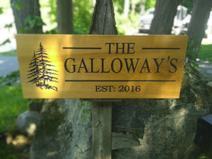 Cedar Road Sign, Rectangular With Tree and 2 Personalized lines