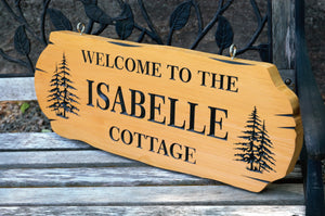 Welcome to the Cottage Personalized Sign, Log Design, 3 Lines of Text