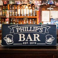 Bar Sign with Beer Mugs