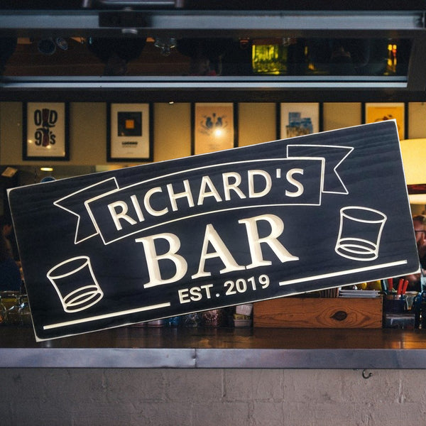 Bar Sign with whiskey Glasses
