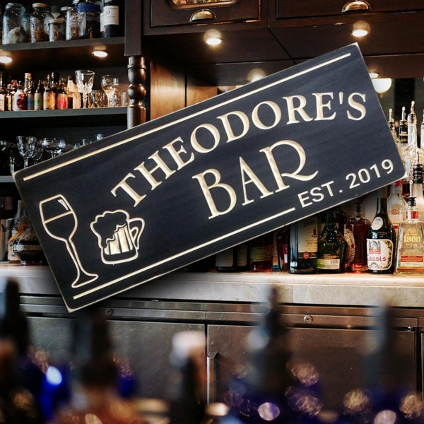 Bar Sign with Wine Glass and Beer Mug