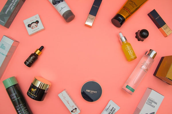 Flat lay picture of skin care and beauty products.