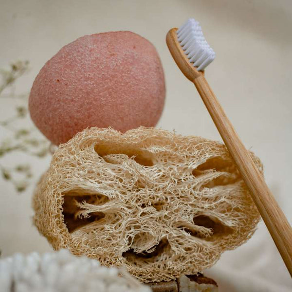 Loofah and brush with a linen fabric background.