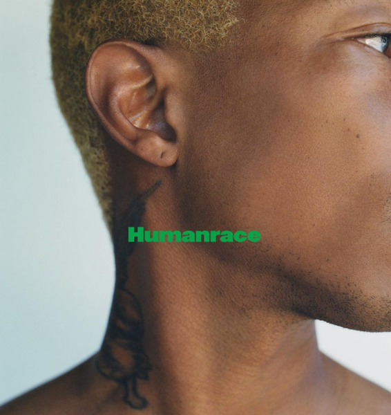 Pharrell Williams close-up face with Humanrace logo.