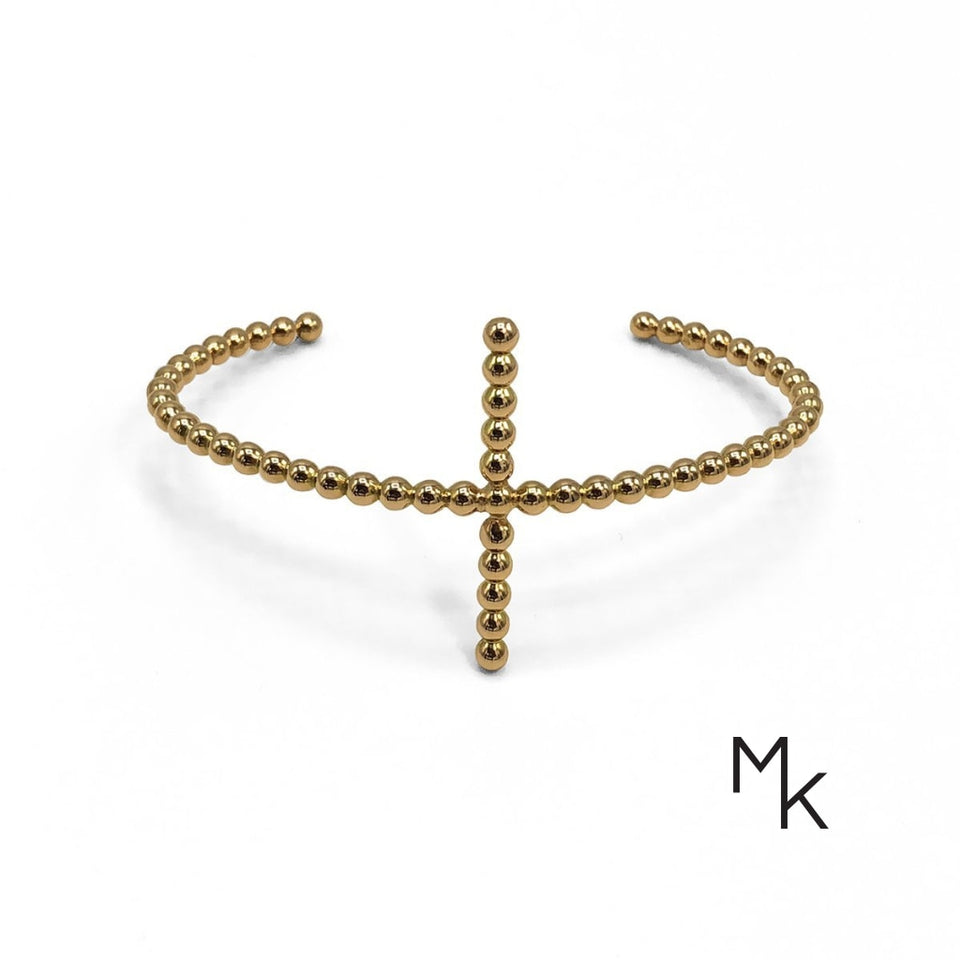 Cross Beaded Wire Bracelet 15 / 18K Gold Bracelet
