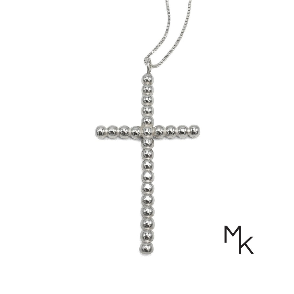 Cross Necklace 70 / Silver Beaded Wire Necklace