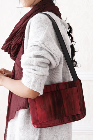 Compact Silk Shoulder Bag - Berry