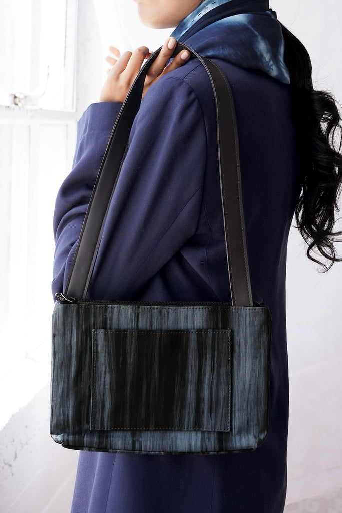 Compact Silk Shoulder Bag - Charcoal
