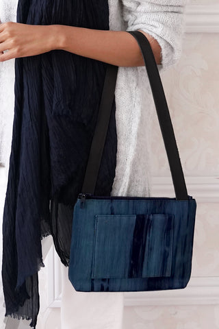 Compact Silk Shoulder Bag - Indigo