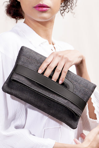 Clutch and Cross Body Bag - Charcoal
