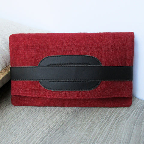 Clutch and Cross Body Bag - Dark Red