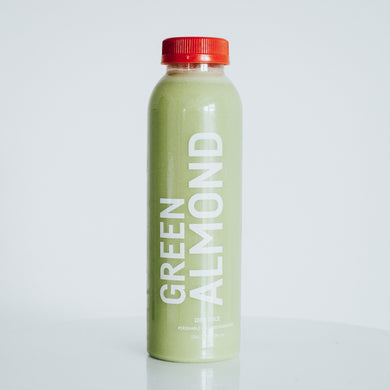 green almond! [almonds, kale, spinach, apple, lemon, water]