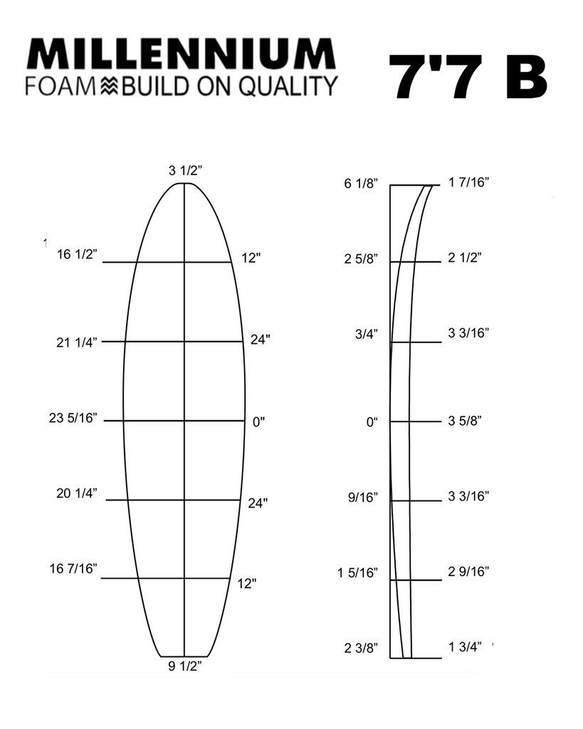 Millennium Foam 7'7 B - Shaper Supply