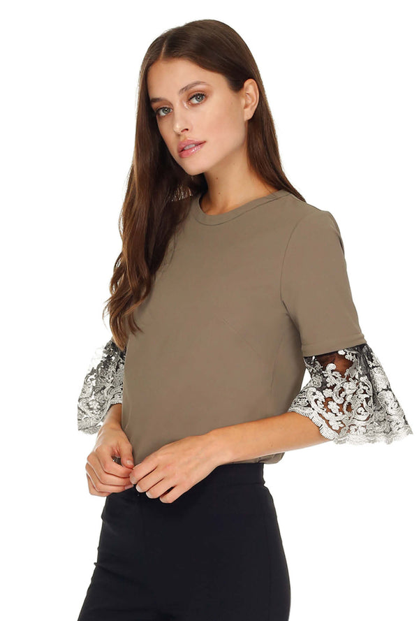 Lace Pleated Sleeves