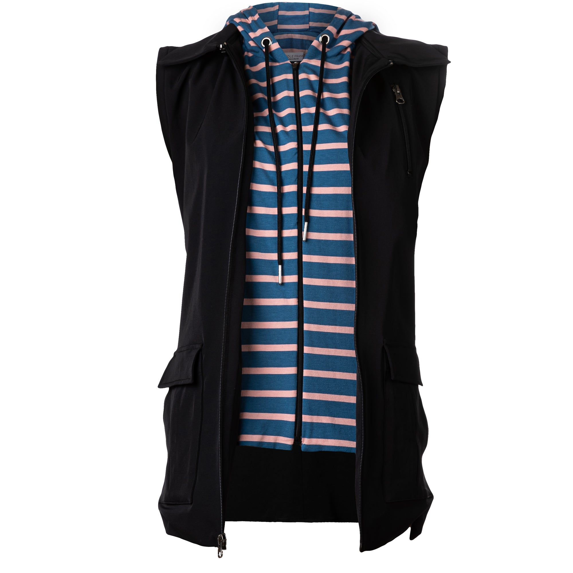 Blue and Rose Striped Hooded Dickey