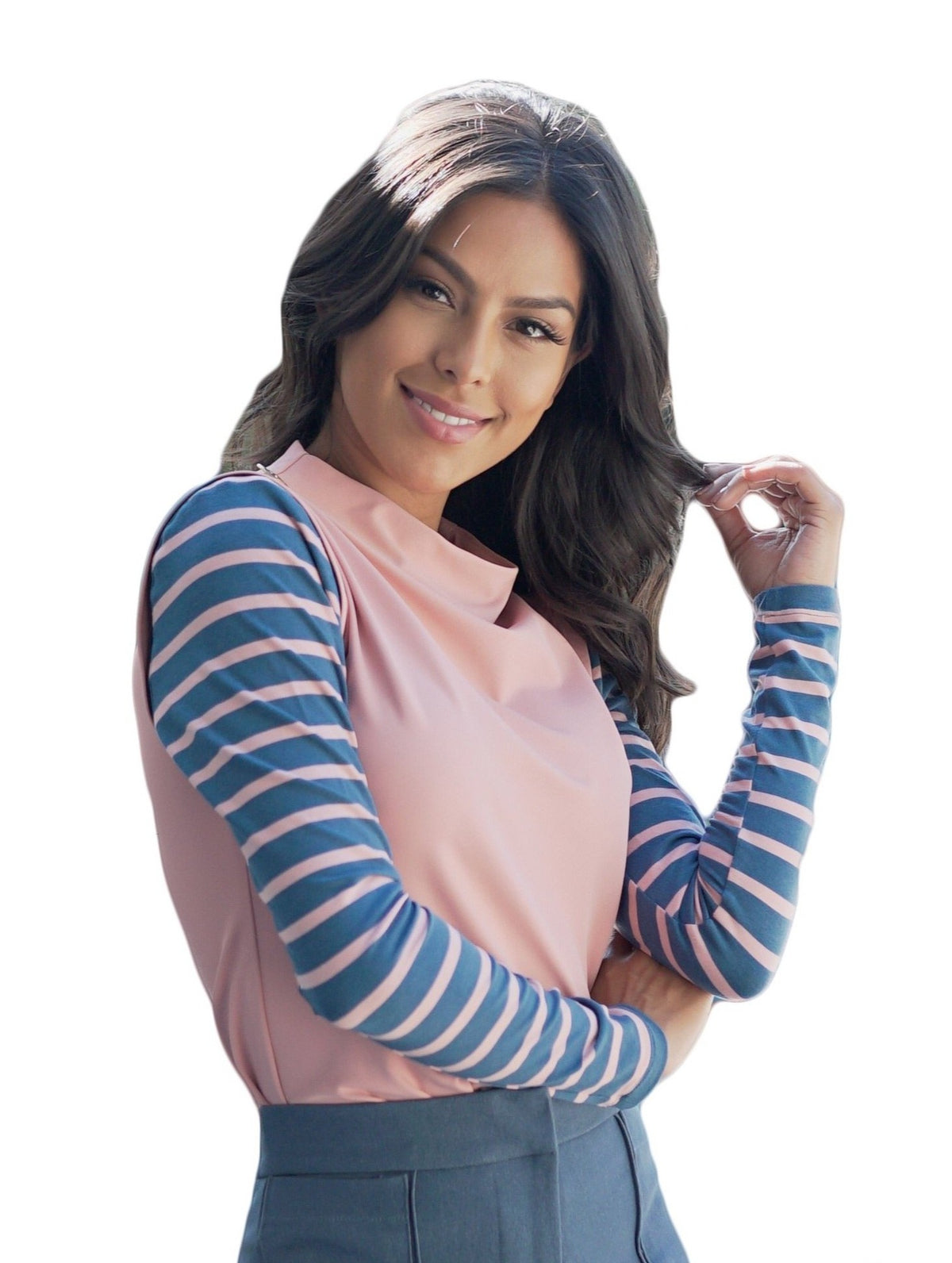 Blue and Rose Striped Slim Sleeves