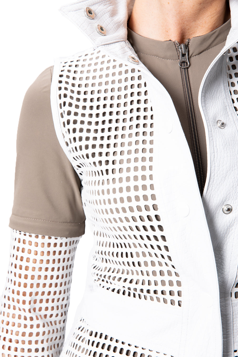Perforated Leather Half Sleeves