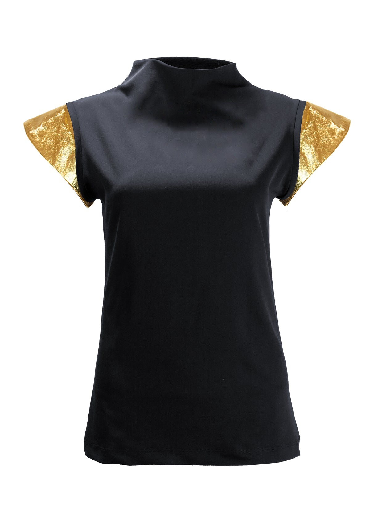 Metallic Leather Cap Sleeves