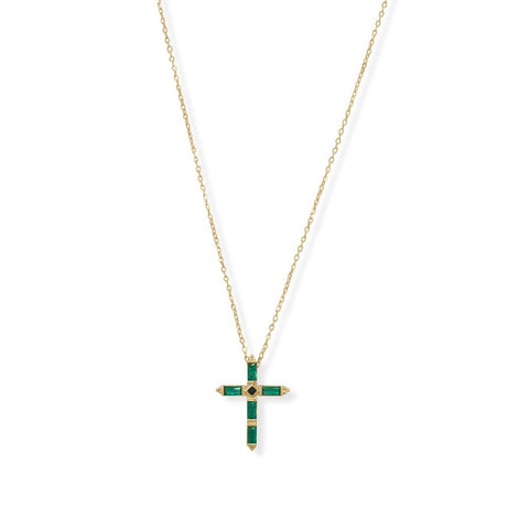 Emerald Kross Necklace