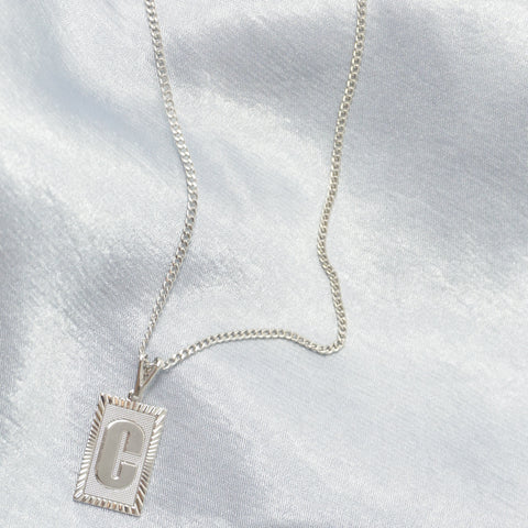 White Gold Roman Initial Necklace