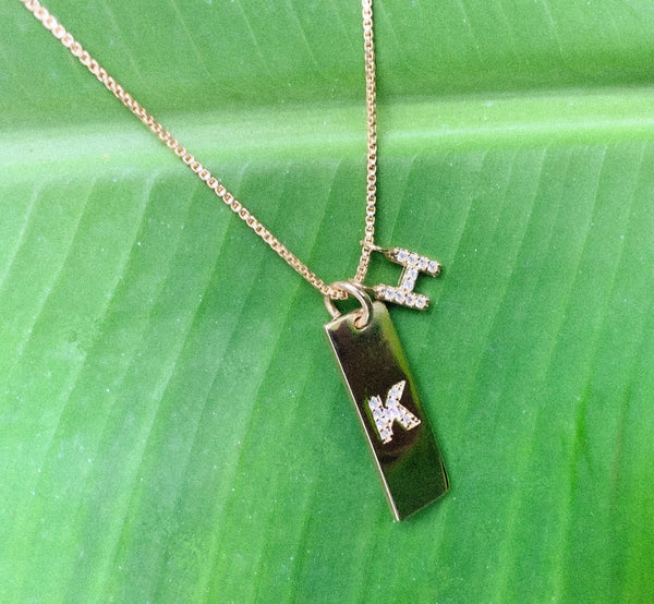 Initial Charm Plate Necklace
