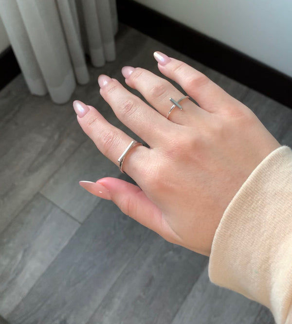 Sterling Silver Bar Ring Paired