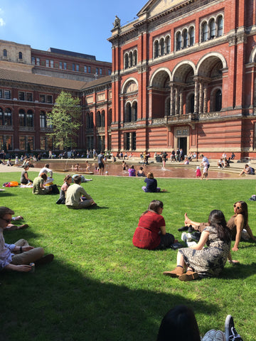 Relaxing outside at the V&A museum in London