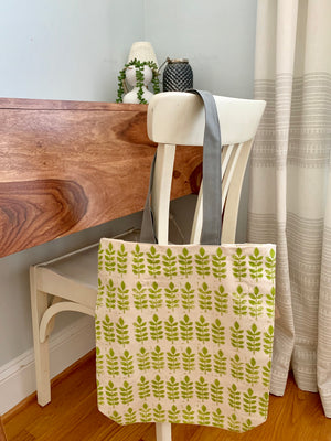 Green Leaf Canvas Tote Bag