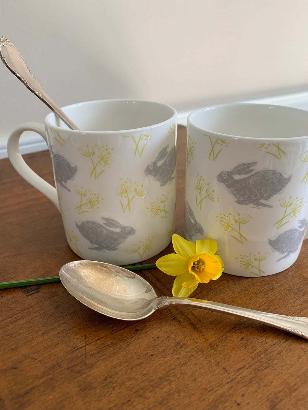 Briton Home fine bone china mugs, grey and yellow bunnies by Sam Wilson