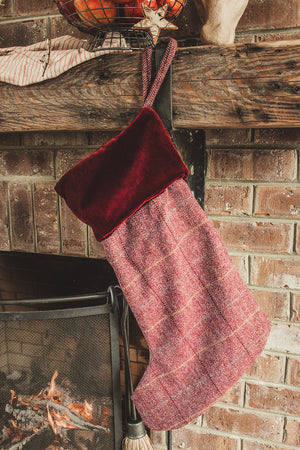 Crimson Tweed Christmas Stocking by Tweedmill