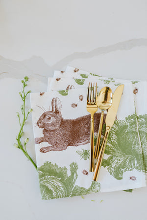 Thornback & Peel Rabbit and Cabbage Napkins, set of four