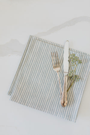 Sam Wilson Blue Stripe Linen Table Napkins, set of four