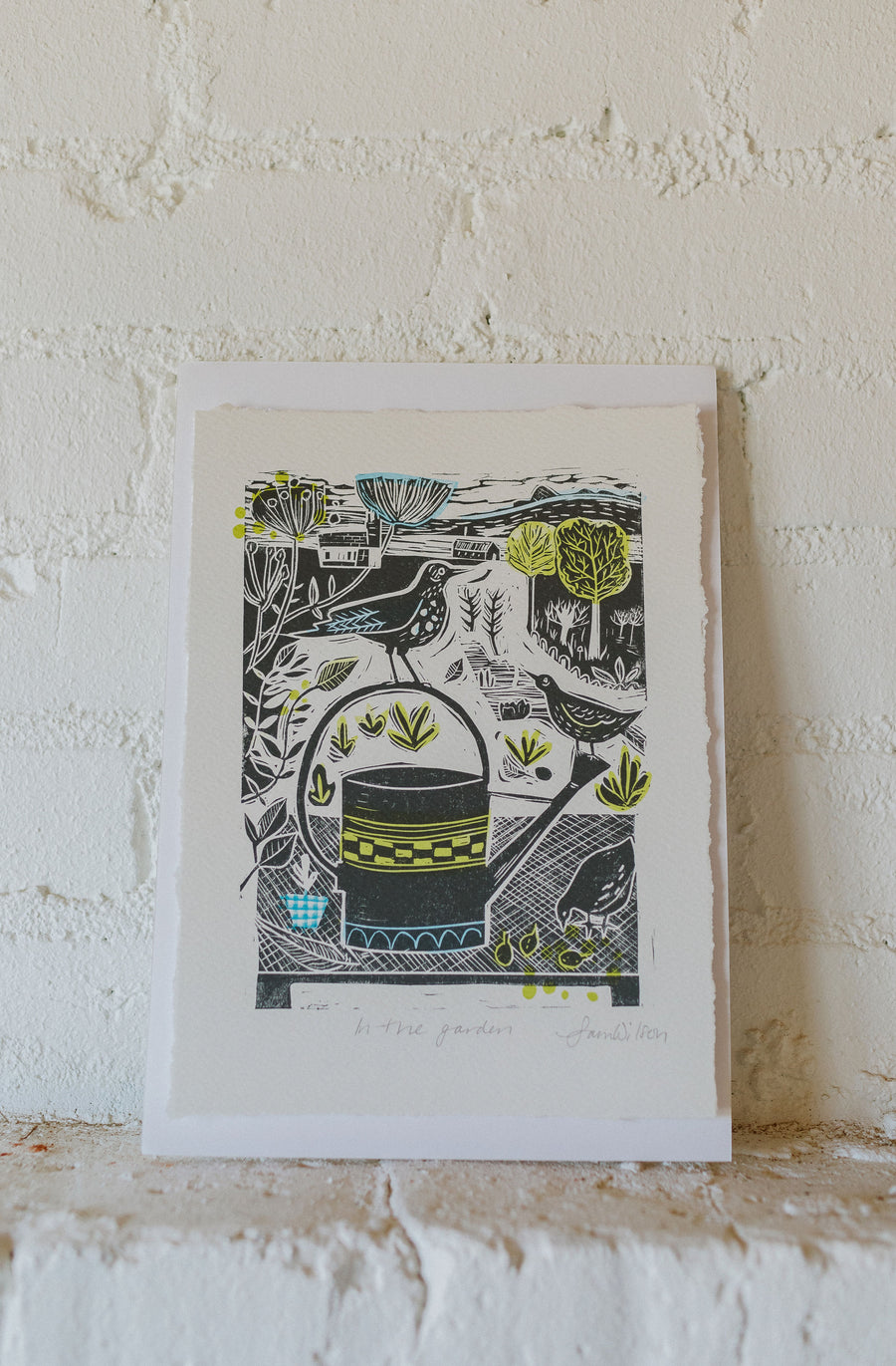 Sam Wilson Studios In The Garden Print from Linocut