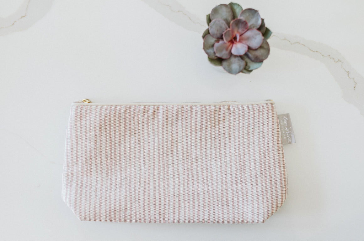 Sam Wilson Pink Stripe Cosmetic Bag