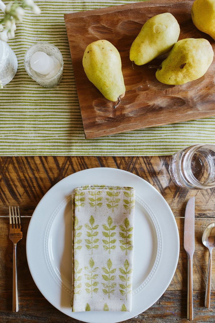 Sam Wilson Green Leaf Linen Napkins (set of four)