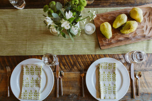 Sam Wilson Green Stripe Table Runner
