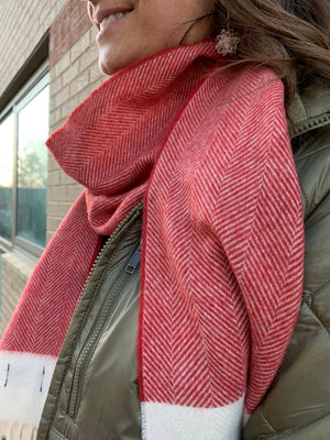Lambswool Scarf- Apple Red Herringbone by Tweedmill Textiles