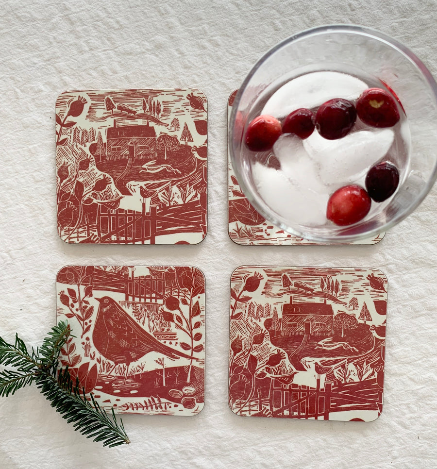 Garden Bird Coasters, set of 4, by Sam Wilson Studios