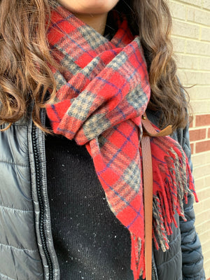 Lambswool Scarf- Ruby Country Check by Tweedmill