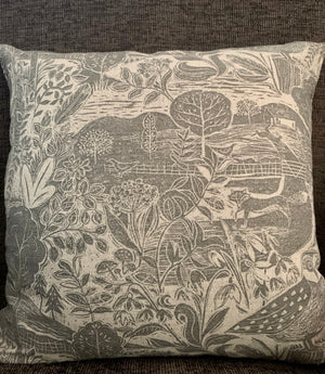 Linen Throw Pillow- Owl & Fox by Sam Wilson