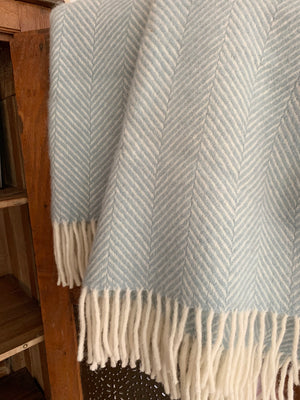 Tweedmill Pure New Wool Throw Blanket- Duck Egg Blue
