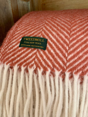 Cranberry Pure New Wool Herringbone Throw by Tweedmill Textiles