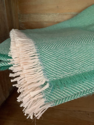 Tweedmill Lightweight Herringbone Wool Throw, Emerald