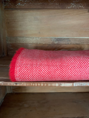 Tweedmill Lightweight Herringbone Wool Throw, Ruby