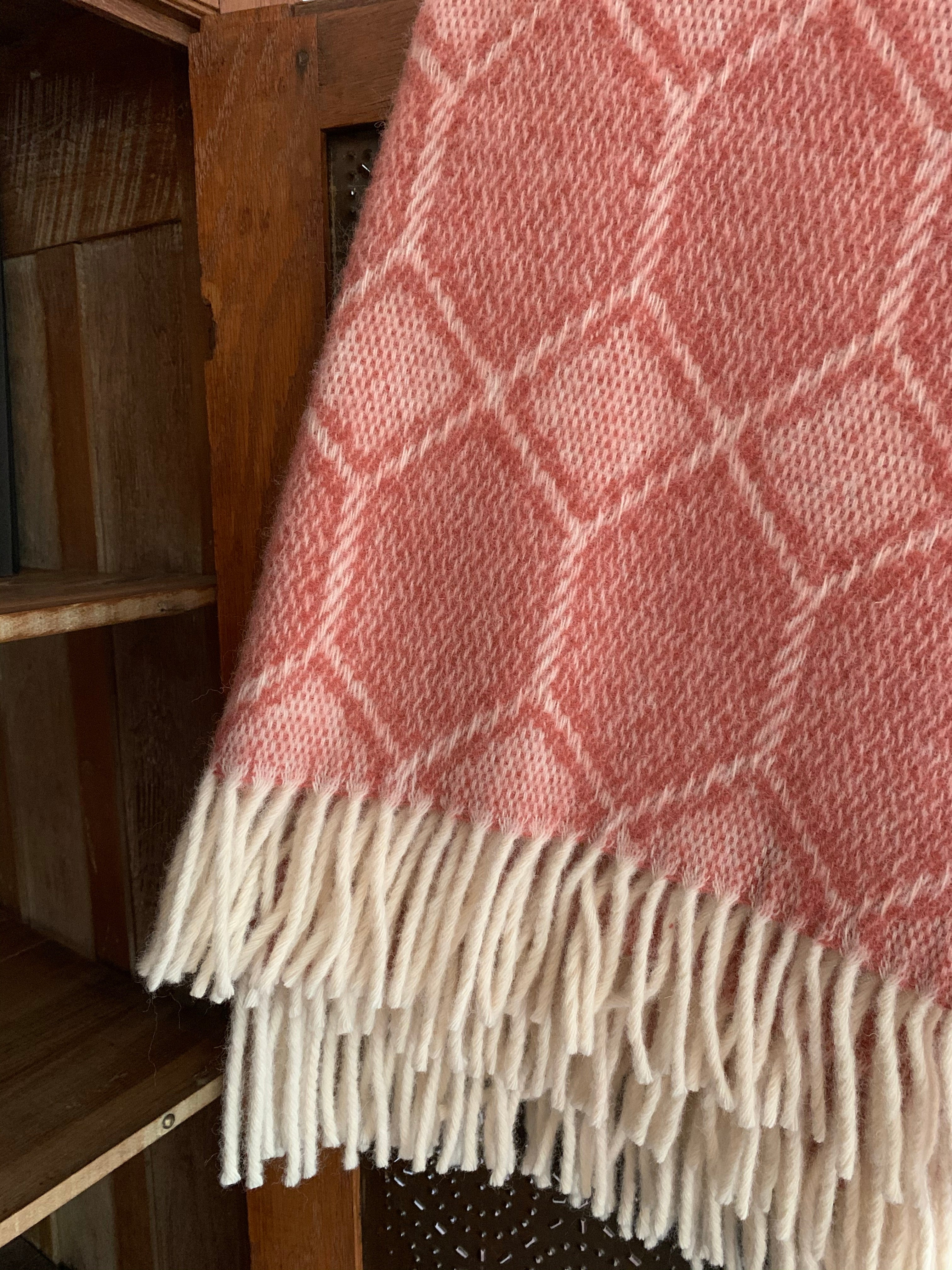 Tweedmill Pure New Wool Churchpane Throw Blanket- Cranberry