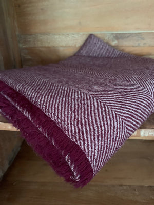 Tweedmill Lightweight Herringbone Throw- Aubergine
